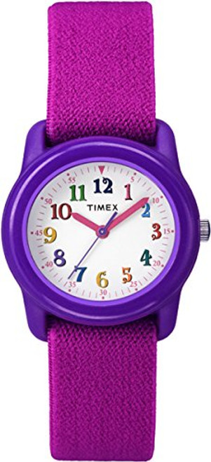 Timex Style TW7B99400 Youth Kidz Analog / Purple Case / White Dial w Color Numbers / Pink Strap  Indiglo Night Light