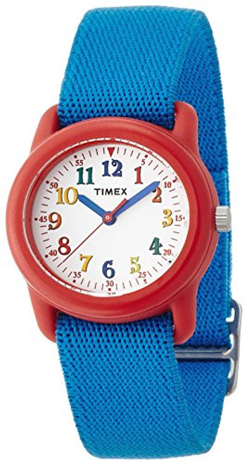 Timex Style TW7B99500 Youth Kidz Analog / Red Case / White Dial w Color Numbers / Blue Strap  Indiglo Night Light