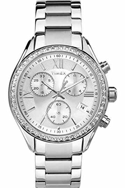 Timex Women's chrono SS case with crystal accents and a SS bracelet TW2P66800