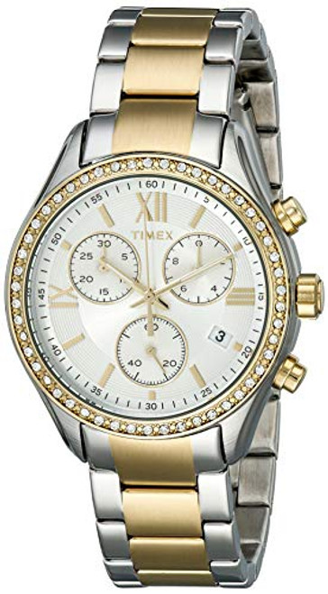 Timex Women's chrono TT case with crystal accents and a TT bracelet TW2P67000