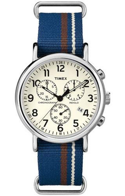 Timex TW2P62400 Round Steel case / Cream chrono dial / Blue cream and brown slip-thru strap