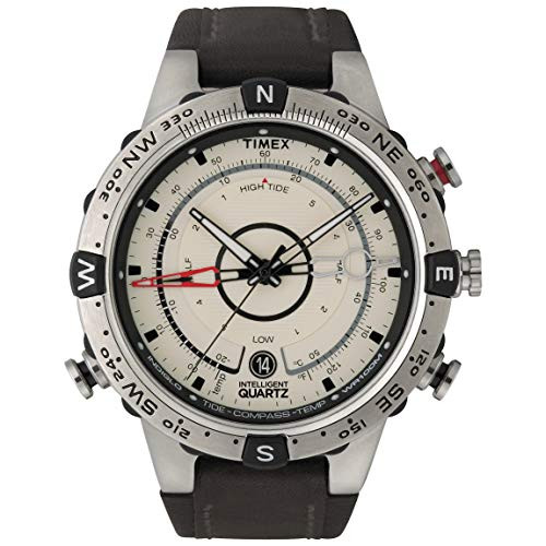 Timex Expedition Men's IQ Quartz Watch with Off-White Dial Analogue Display and Brown Leather Strap - T45601