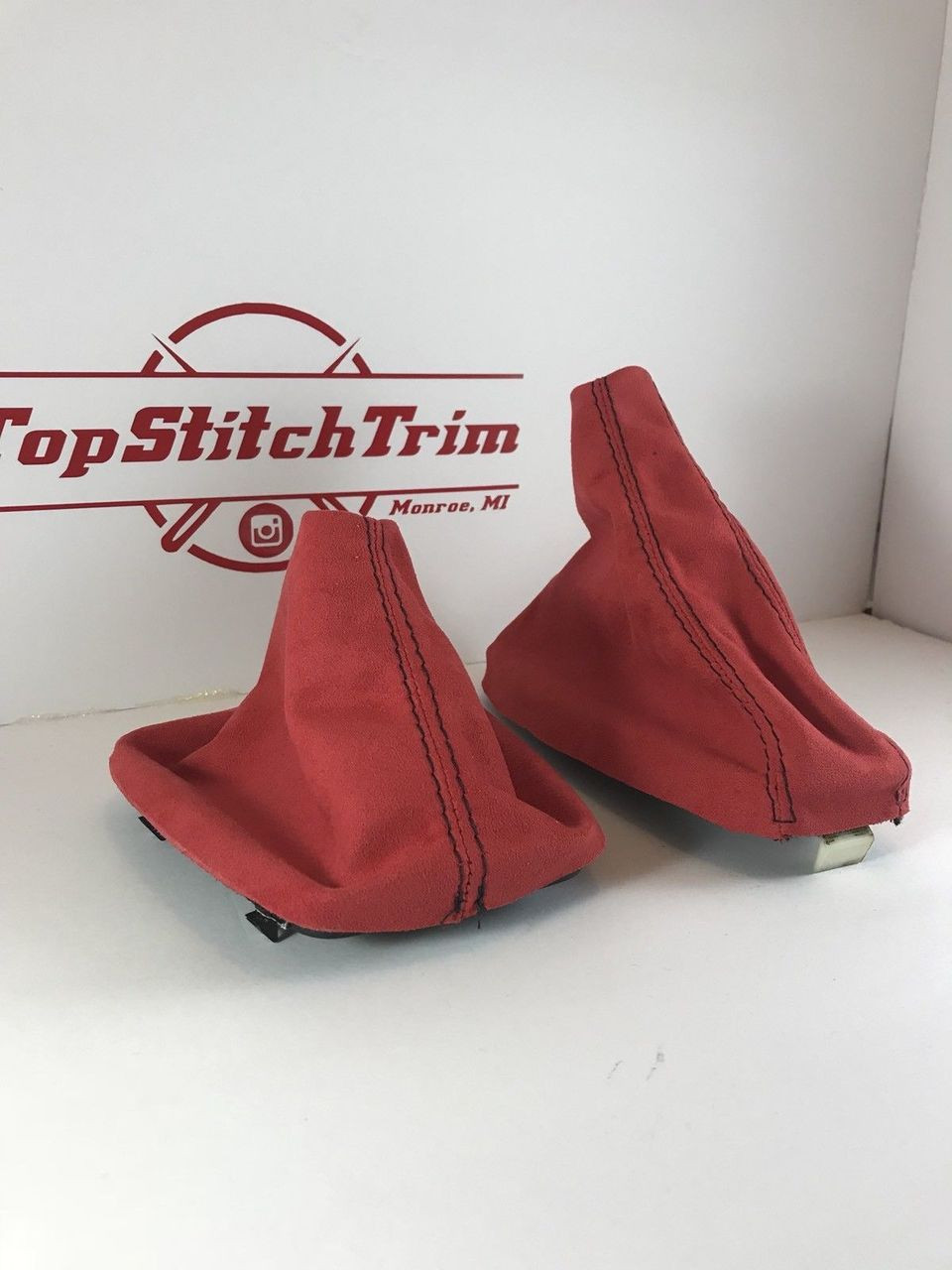 92 98 Bmw E36 3 Series Red Suede Shift Boot And Brake Boot Top Stitch Trim