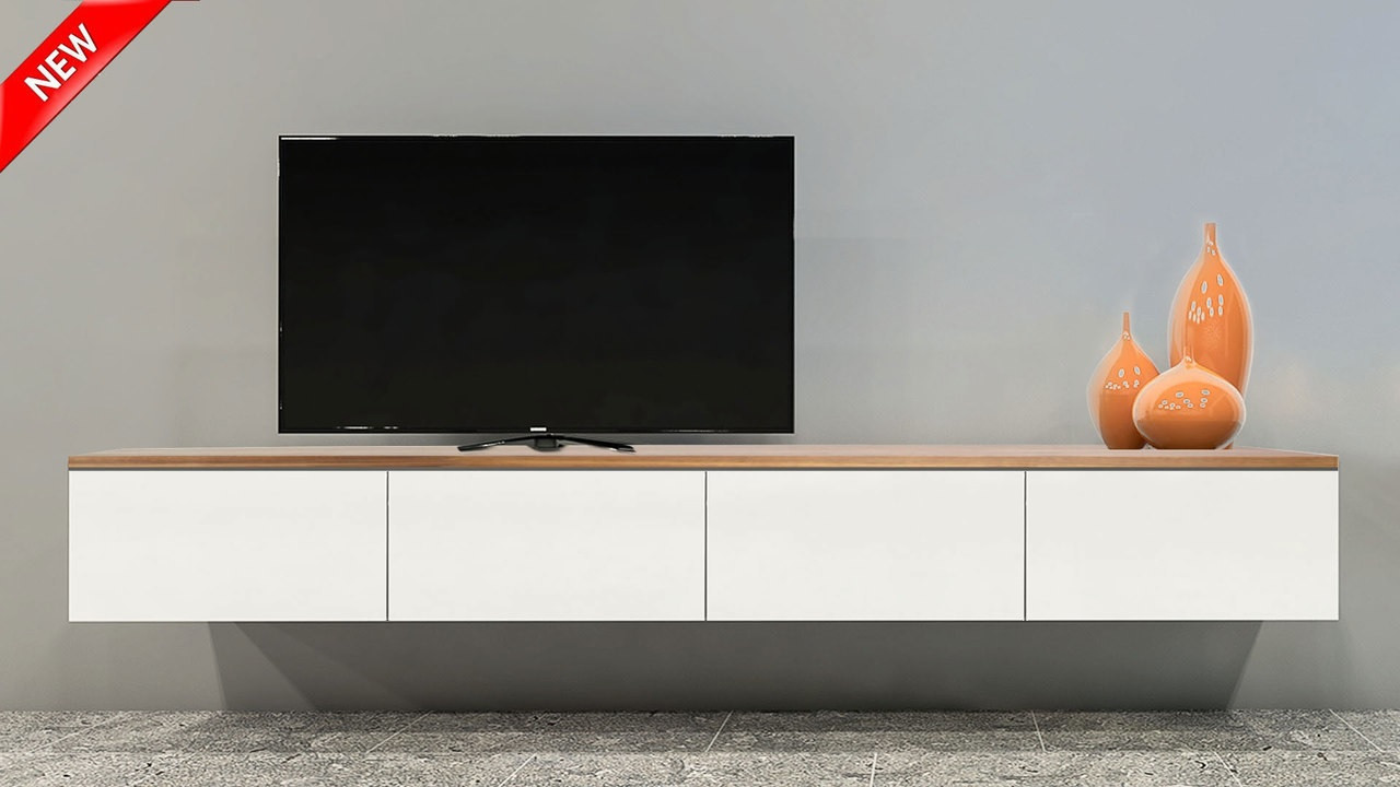 Free shipping queensland floating wood top tv wall unit
