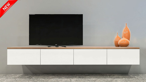 Queensland Floating Wood Top TV Wall Unit