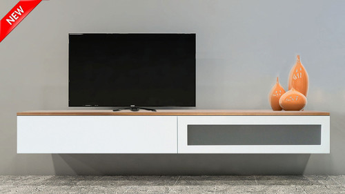 London Floating Wood Top TV Wall Unit