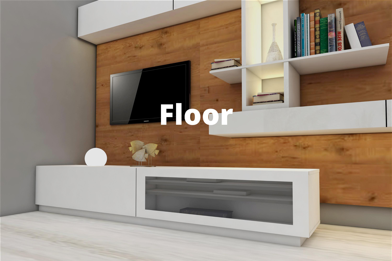 Floor Entertainment tv cabinet unit black white plinth modern retro design interior design trend
