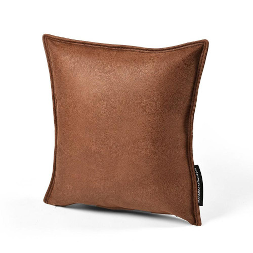Luxury Faux Leather Indoor Cushion Chestnut