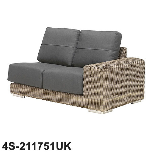 Kingston Rattan Modular 2 Seater Left Side With 4 Cushions- Pure
