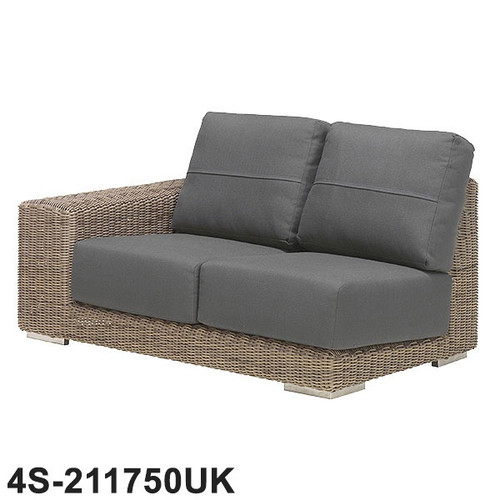 4 Seasons - Kingston Rattan Modular 2 Seater Right Side With 4 Cushions- Pure