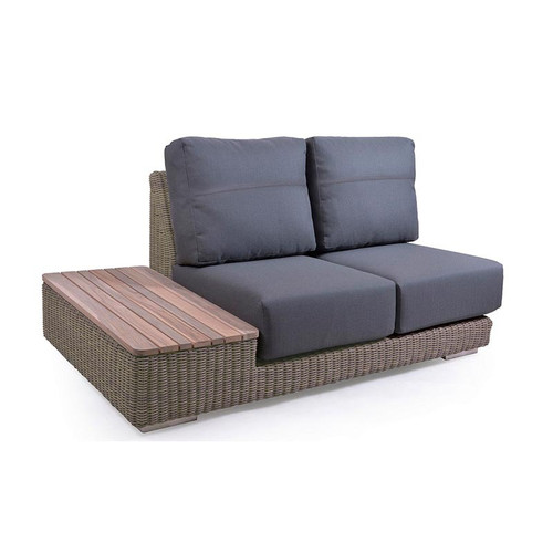 4 Seasons Outdoor - Kingston 2 Seater Right With Teak Island - Pure