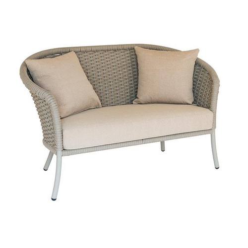 Alexander Rose Cordial Curved Top Sofa, Beige Rope with Oatmeal Cushions