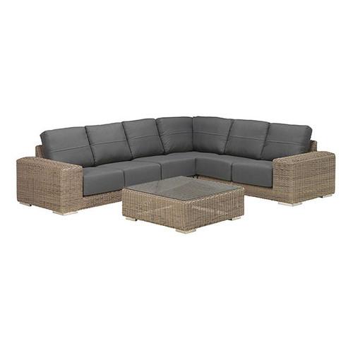 4 Seasons Outdoor - Kingston 5 Piece Modular Rattan Sofa Set with Coffee Table, Pure