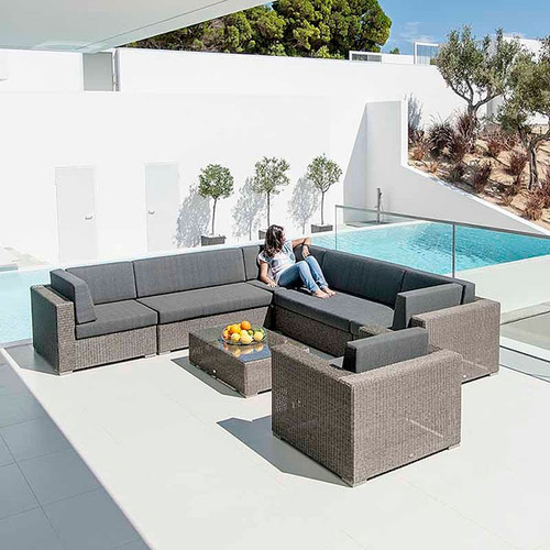 Alexander Rose Monte Carlo Modular Rattan Sofa Set With Cushions