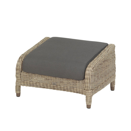 4 Seasons - Brighton Rattan Footstool With Single Cushion - Pure