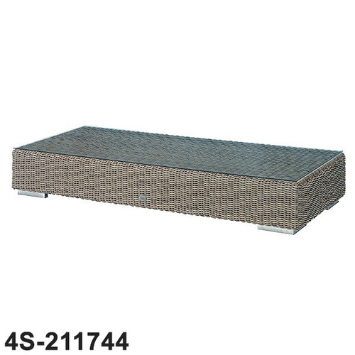 Kingston Rattan Coffee Table 180cm x 80cm x 35cm With Glass - Pure