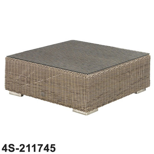 Kingston Rattan Coffee Table With Glass 95cm x 95cm x 35cm - Pure