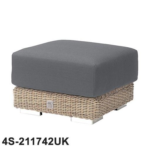 Kingston Rattan Footstool With Cushion - Pure