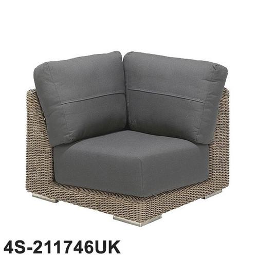 4 Seasons - Kingston Rattan Modular Sofa Corner With 3 Cushions - Pure
