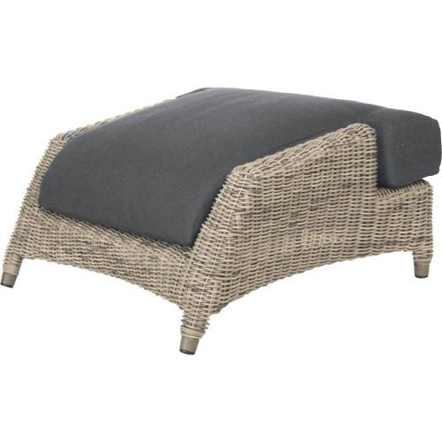 4 Seasons - Valentine Rattan Footstool With Cushion - Pure
