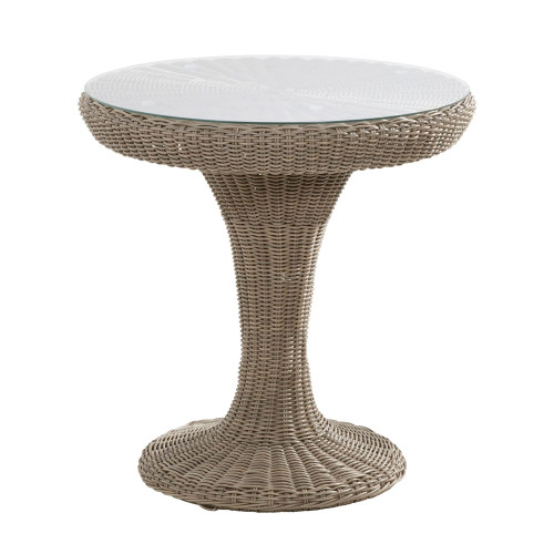 4 Seasons Outdoor - Victoria Rattan Bistro Table 74cm With Glass - Pure