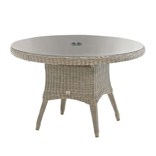 4 Seasons Outdoor - Victoria Rattan Dining Table 150cm With Glass Inc. Hole - Pure