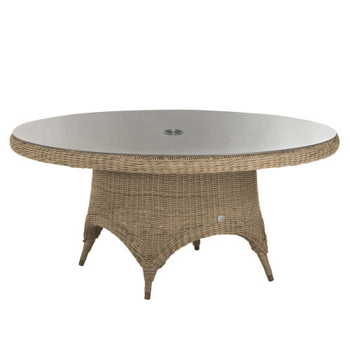 4 Seasons Outdoor - Victoria Rattan Dining Table 170cm With Glass Inc. Hole - Pure