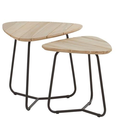 4 Seasons Outdoor - Axel Triangle Teak Coffee Table, Set of 2