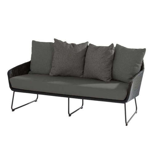 4 Seasons Outdoor - Avila Living Bench With Cushions, Polyloom Anthracite