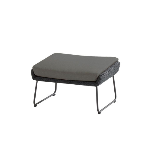 4 Seasons Outdoor - Avila Footstool With Cushion, Polyloom Anthracite