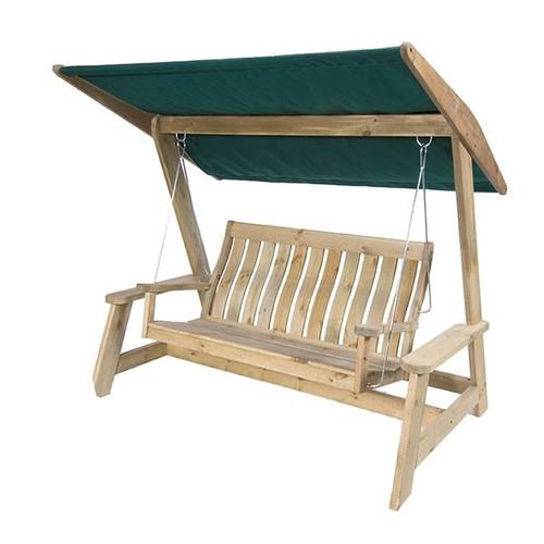 Alexander Rose Pine Farmers Garden Swing Seat, Green