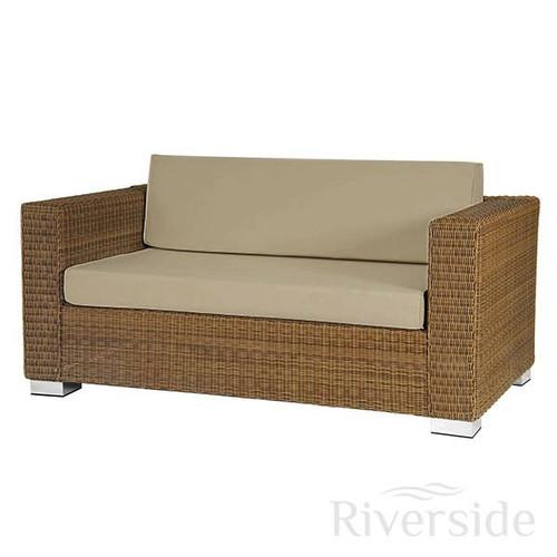 Alexander Rose San Marino 2 Seater Outdoor Rattan Sofa With Oatmeal Cushions
