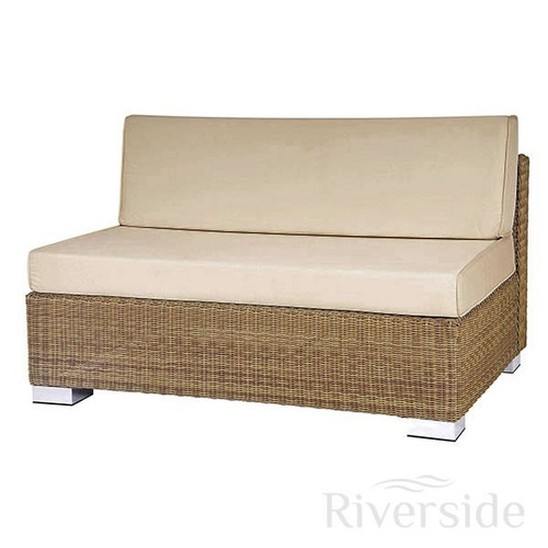 Alexander Rose San Marino 2 Seater Middle Rattan Sofa With Oatmeal Cushions