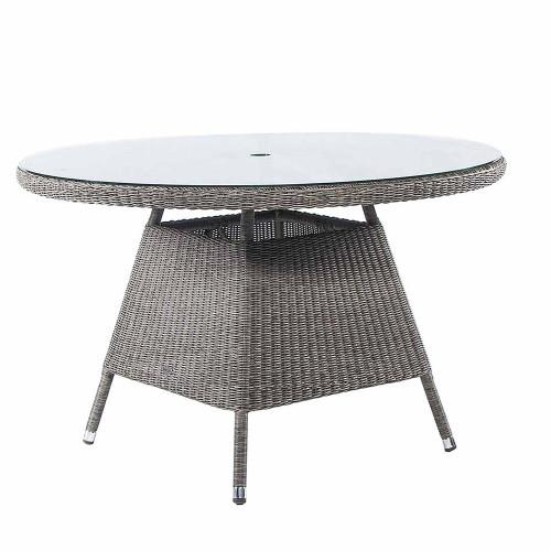 Alexander Rose Monte Carlo Rattan Table & Glass 1.2M Ø Grey