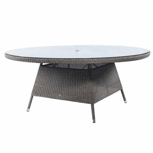 Alexander Rose Monte Carlo Rattan Table & Glass 1.8M Ø Grey