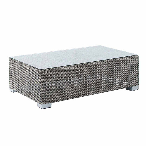 Alexander Rose Monte Carlo Rattan Coffee Table With Glass 1.0X0.60M Grey