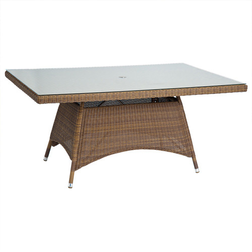 Alexander Rose San Marino Rectangular Rattan Table With Glass 1.6M x 1.0M