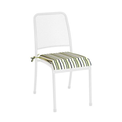 Alexander Rose Portofino Stacking Chair - Armchair Cushion, Lime Stripe