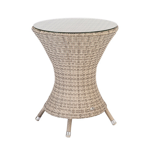 Alexander Rose Ocean Pearl Wave Bistro Table With Glass, 0.6m