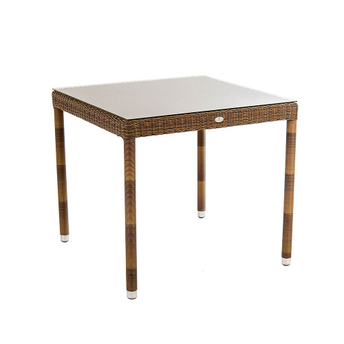 Alexander Rose San Marino Square Rattan Table With Glass 0.8m x 0.8m