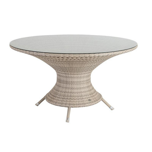 Alexander Rose Ocean Pearl Wave Rattan Table With Glass, 1.3m
