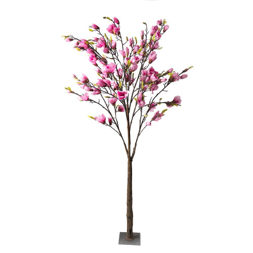 Artificial Dark Pink Magnolia Tree With Leaf, 3.5M (11.5ft)