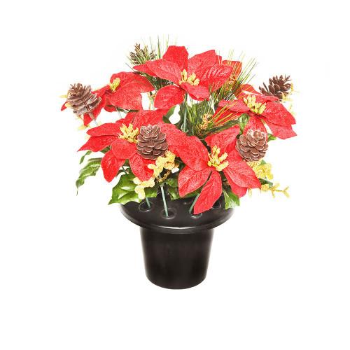 Artificial Grave Pot (16 Stems) - 25cm Velvet Poinsettia Glitter Eucalyptus, Red