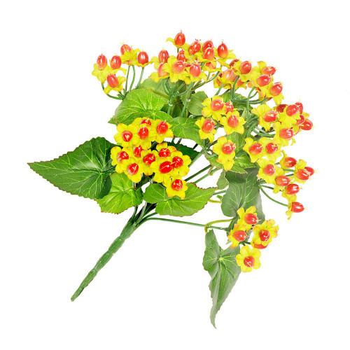 Artificial Flower Bouquet - 34cm Hypericum Bush, Orange