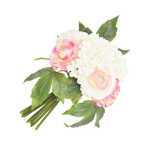 Artificial Flower Posy - 26cm Hydrangea And Ranunculus, Pink