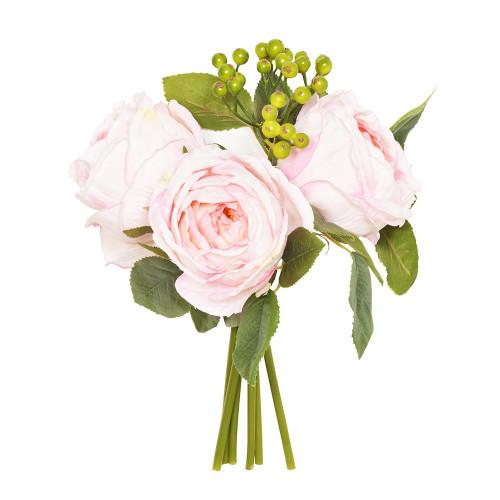 Artificial Flower Posy - 26cm Centerfolia Rose Berry Foliage, Pink