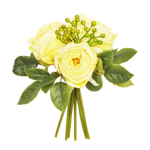 Artificial Flower Posy - 26cm Centerfolia Rose Berry Foliage, Lemon