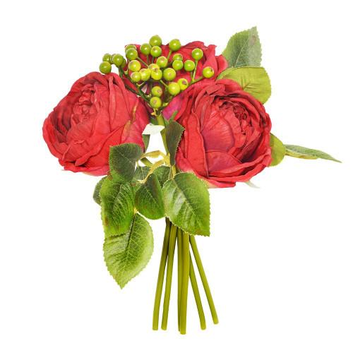 Artificial Flower Posy - 26cm Centerfolia Rose Berry Foliage, Red