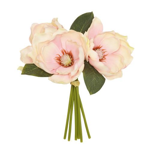 Artificial Flower Posy - 28cm Magnolia Foliage, Pink