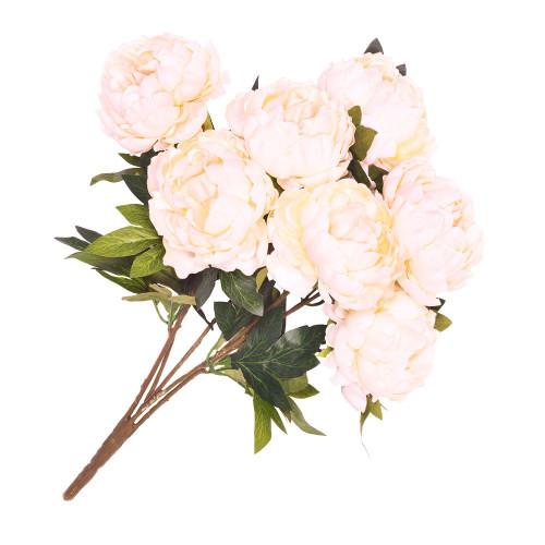 Artificial Flower Bouquet (7 Stems) - 54cm Peony, Peach